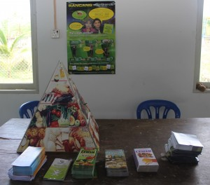 The healthy eating and nutrition booth setup before the camp